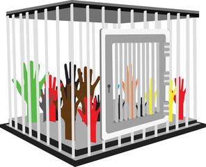 gabbia di ferro con dentro mani colorate