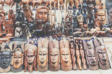 African masks, Morocco. Gift shop in Agadir.
