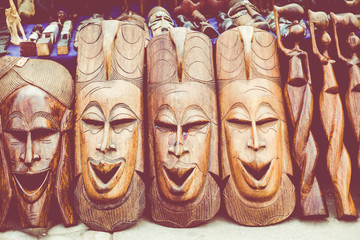 African masks, Morocco. Gift shop in Agadir.