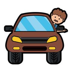 cartoon man and car icon