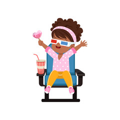 Sweet happy african american little girl in 3d glasses sitting on a blue chair and watching 3D movie in the cinema vector Illustration