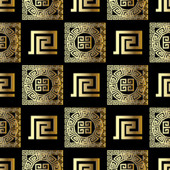 Geometric modern 3d meander vector seamless pattern. Modern black background wallpaper with gold ornamental abstract shapes, figures, circles, squares,  greek key ornaments. Ornate surface texture