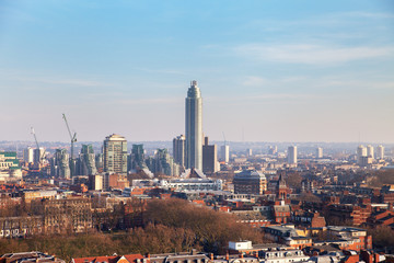 Aerial view of London, Westminster Cathedral area.