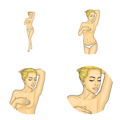 Set of vector pop art round avatar icons for users of social networking, blogs, profile icons. Young nude girl with blonde hair in bun covering breasts with her hands.