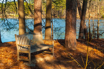 The wooden bench and the lake in the Stone Mountain Park in sunny autumn day, Georgia, USA