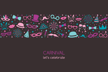 Carnival - let's celebrate. Banner with funny icons. Vector.