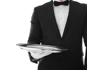 Waiter with empty tray on white background