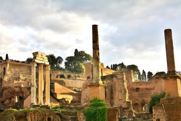 View of the Roman Forum with the Temple of Saturn, Rome, Italy