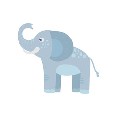 Funny blue elephant with long trunk, big ears and spots on back. Cartoon wild animal. Zoo concept. Flat vector design for kids print, sticker or toy store logo