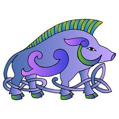 Ancient irish mythological totem. Wild boar with celtic knot. Ve