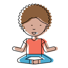 cartoon man practicing yoga