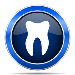 Tooth vector icon. Modern design blue silver metallic glossy web and mobile applications button in eps 10
