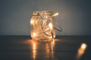 Fairy Lights  in a transparent jar