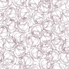 Seamless pattern in pink roses on a white background. Wallpaper in drawn roses