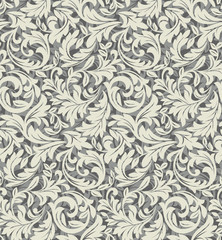 Wallpaper in the style of Baroque. A seamless vector background. Gray texture. Floral ornament. Graphic vector pattern