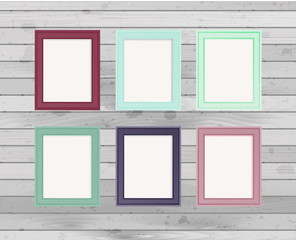 Realistic design photo frames. Decorative template for baby, family or memories. Scrapbook concept, vector illustration.