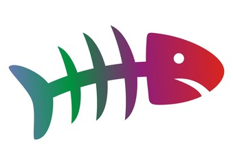 fish, rainbow skeleton, colored vector icon