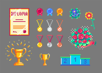 Pixel art trophies and medals set.