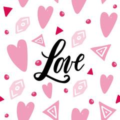 Handwritten Love word on abstrackt background. Seamless pattern.