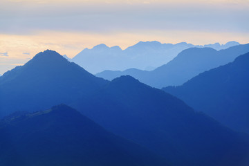 Evening mountains in blue tonality