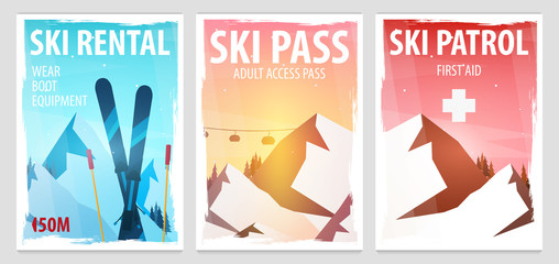 Set of Winter Sport posters. Ski Rental, Patrol, Pass. Mountain landscape. Snowboarder in motion. Vector illustration.