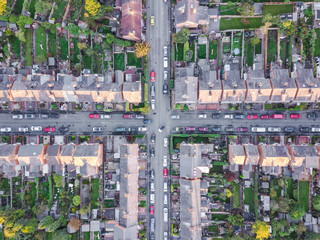 Aerial view of traditional housing suburbs cross roads in England