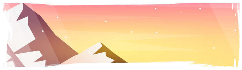 Mountains landscape background with silhouettes of mountains and trees. Vector Illustration.