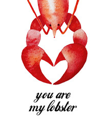 "Lobster Character, Happy Valentine's Day tag, cup, poster, greeting card design. Calligraphy phrase ""You are My Lobster"", FRIENDs TV show quote. Hand drawn water color illustration, white background."