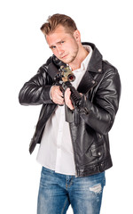Young man with a rifle.  human emotion expression and lifestyle concept. image on a white studio background.