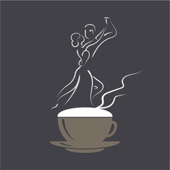 Vector logo Coffee Tango. Two silhouettes of a romantic couple dancing tango on cappuccino foam.