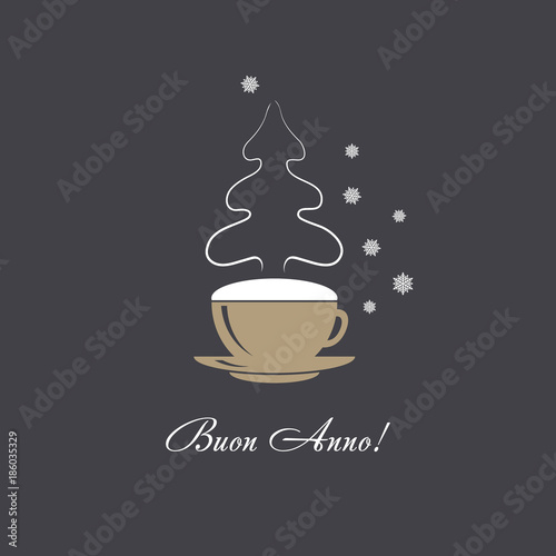 Vector card coffee cup with snowflakes and christmas tree steaming vector card coffee cup with snowflakes and christmas tree steaming silhouette happy new year greetings m4hsunfo