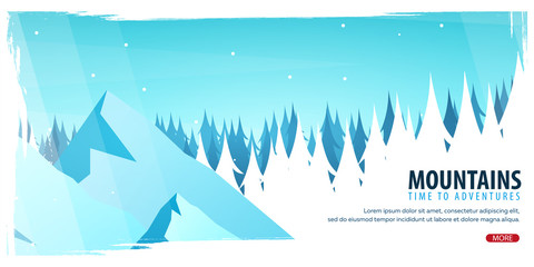 Nature landscape background with silhouettes of mountains and trees. Winter Forest. Vector Illustration.