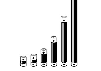 A black and white Column or bar chart where the bars are battery icons showing exponential growth. Vector Illustration