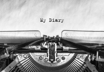 my diary is a seal on a vintage typewriter, a rarity. idea is my story