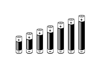 A black and white Column or bar chart where the bars are battery icons showing lineal growth. Vector Illustration