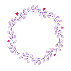 Watercolor ultra violet floral wreath with heart. Invitation for a wedding. For card, design, print or background