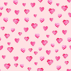 Watercolor St Valentines Day pattern. Romantic pink hearts. For card, design, print or background