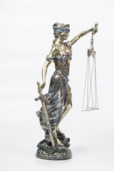 Statue of justice isolated on white background