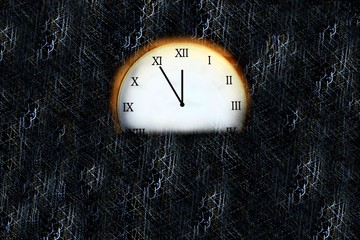 Clock showing five minutes to midnight on a dark background
