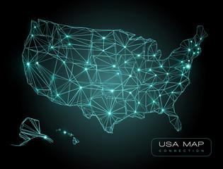 Abstract Telecommunication map of USA - futuristic USA network map technology background