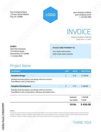 Invoice Template Blue Color Minimalist Design Stock Image And