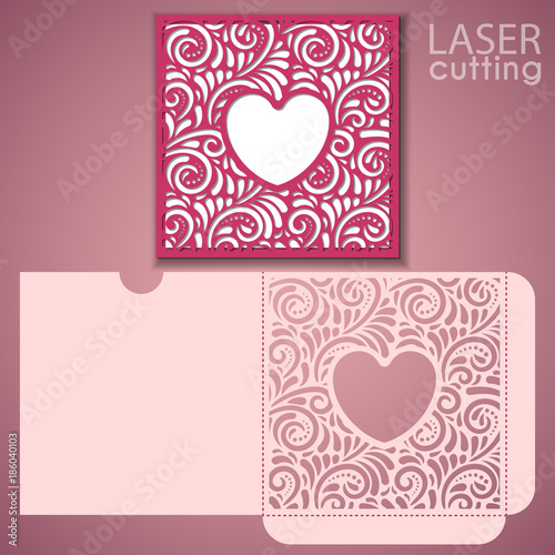 Die Laser Cut Wedding Envelope Template With Heart Shaped Frame