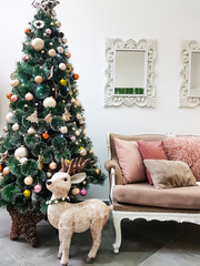 New interior with Christmas tree and reindeer