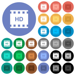HD movie format round flat multi colored icons