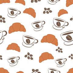 Seamless pattern of coffee. Vector illustration.