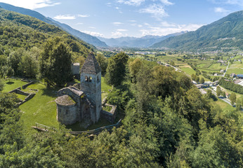 Exterior view of medieval Abbey of San Pietro in Vallate