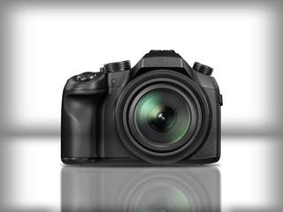 Black modern reflex camera in white background with reflection