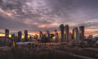 Skyline at sunset, Calgary, Alberta, Canada, North America