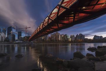 Calgary cityscape with Peace Bridge, Calgary, Alberta, Canada, North America