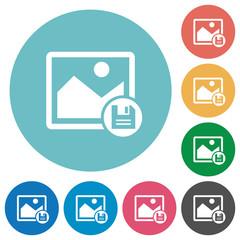 Save image flat round icons